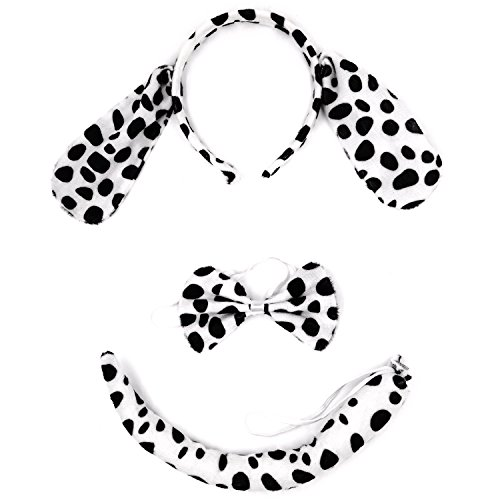 Plush Mouse Child Costumes Kit - Animal Costume, AOZKY Kids Childs Accessory Kit Wolf Antlers Mouse Dalmatian Ear Headband Tail Tie Set For Cosplay Party Halloween (Dalmatian)