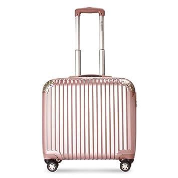 D_HOME Maleta con Ruedas Maleta con maletín de Negocios para Mujer Maleta pequeña Maleta Universal con Cierre de Rueda (18 Pulgadas) (Color : Oro Rosa): ...