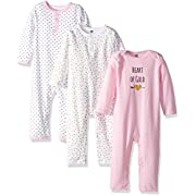 Hudson Baby Baby Cotton Union Suit, 3 Pack, heart of gold, 3 Months