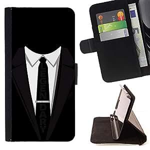 Momo Phone Case / Flip Funda de Cuero Case Cover - Traje Tie Negro legendario lema del hombre de negocios - Samsung Galaxy E5 E500