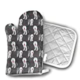 Dog Lover Old English Sheep Dog Shaped Oven Mitts and Pot Holders Set of 2 for Kitchen Set with Cotton Non-Slip Grip, Heat Resistant, Oven Gloves for BBQ Cooking Baking, Grilling, Machine Washable