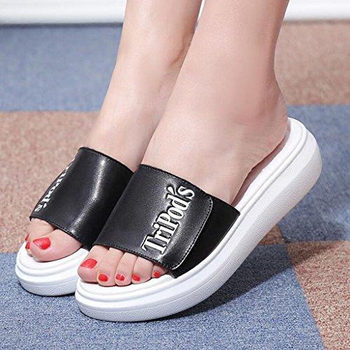 De Cool Loisirs Flip 5 cn35 Plat Eu36 Mode Été Épais Pantoufles Black uk3 Extérieur Taille couleur Mouvement Sandales Fond Xy® Femme Flop Black wAIPzEP