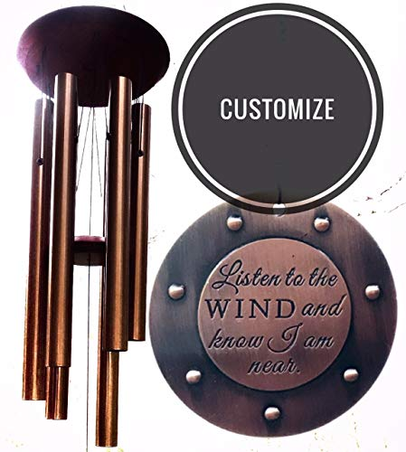Memorial Wind Chime CUSTOM Gift after Loss of Loved One Remembering After Loss Amazing Grace Garden Funeral or Anniversary Heaven Day Gift Giving Listen to the Wind and Know I ()