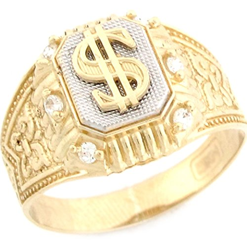 10k Two Tone Real Gold CZ Dollar Money Fancy Mens (Money Sign Ring)