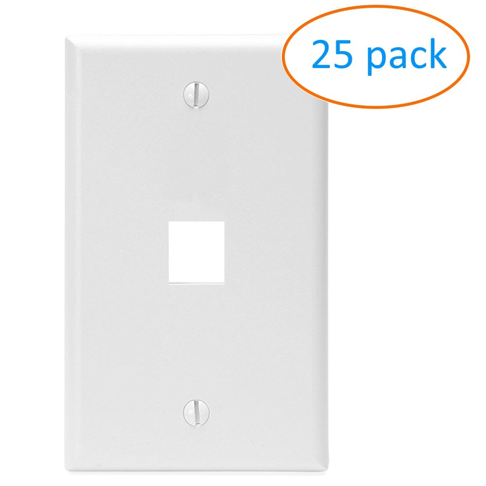 Kenuco White Keystone Wall Plate | Pack of 25 | 1 Port