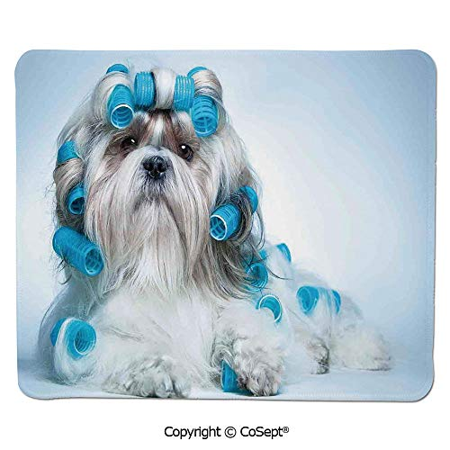 Quality Selection Comfortable Mouse Pad,Shih tzu Dog with Surlers Grooming Hairstyle Salon Front View Closeup Studio Shot,for Laptop,Computer & PC (7.87
