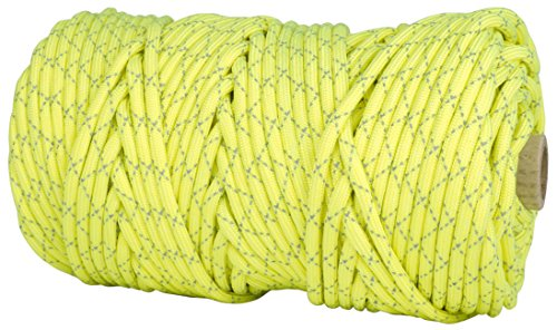 TOUGH-GRID New 700lb Double-Reflective Paracord/Parachute Cord - 2 Vibrant Retro-Reflective Strands for The Ultimate High-Visibility Cord - 100% Nylon - Made in USA - 100Ft. Neon Yellow Reflective by TOUGH-GRID (Image #1)