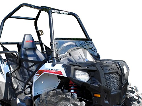 SuperATV Heavy Duty Scratch Resistant Clear Half Windshield for Polaris Ace / 900 (2014+) - Hard Coated for Long Life and Extreme Durability - Installs in 5 Minutes!