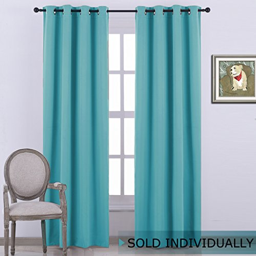 Window Treatments Panel (NICETOWN Thermal Insulated Blackout Curtain - (Turquoise Blue Color) Thermal Insultaed Window Treatment Drape, Room Darkening Modern Drapery for Boy's Room,52x95-Inch,One Panel)