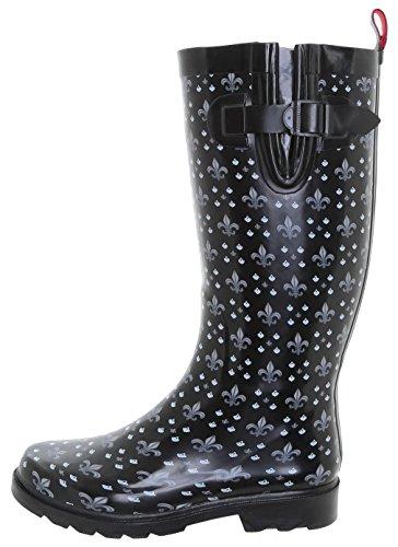 Ladies Rubber Printed Lis De Fleur Combo New Boot York Ditsy Tall Black Rain Capelli H0qzwEAx0