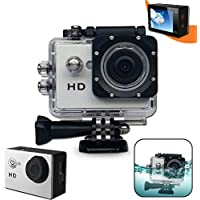 Xtech® KoolCam AC100 HD 720p Waterproof Action Camera / Camcorder captures Videos at 720 pixels 30 frames per second with a Super 140 degree Wide angle Lens + Pro Accessories: Underwater Case, 900mAh Battery, Bike Mount, Flat Adhesive Stickers and Mount, It's the Perfect Camera / Camcorder for Kids and Adults