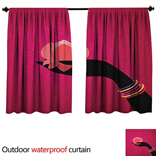 (BlountDecor LotusAnti-waterSilhouette of Woman Hand with Bangles Holding a Japanese Flower Asian Folklore Design W120 x L72(305cm x 183cm) Shade Curtain Outdoor Multicolor)