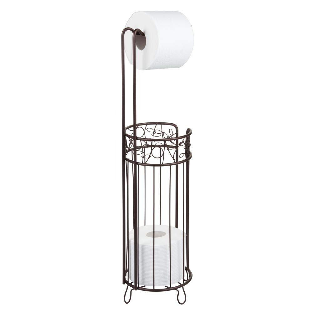 InterDesign Twigz Free Standing Toilet Paper Holder – Dispenser and Spare Roll Storage for Bathroom, Bronze