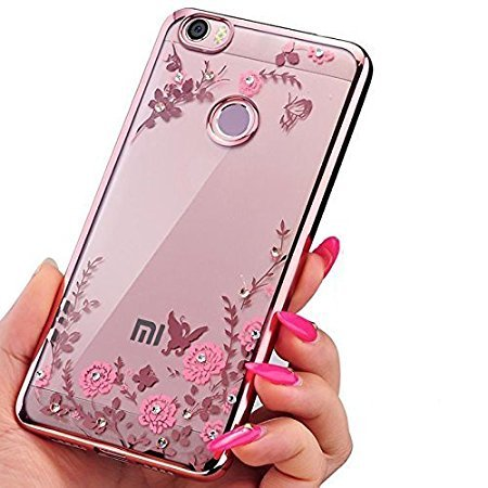 uk availability bc103 9278f Loxxo Shockproof Silicone Soft TPU Transparent Auora Flower Case Cover with  Sparkle for Xiaomi Redmi Y1