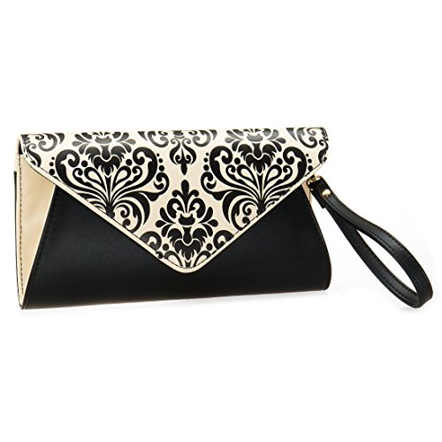 Cream Clutch Faux Envelope Handbag Womens 2 Fashion Leather Style BMC Tone Black Flap Damask qOv50vUg