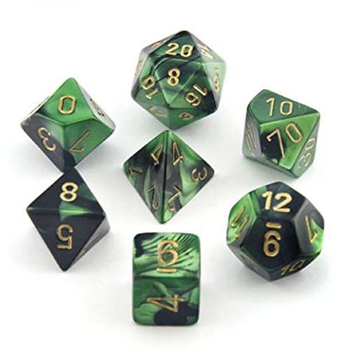 - Chessex Gemini Black And Green With Gold Polyhedral 7 Dice Set