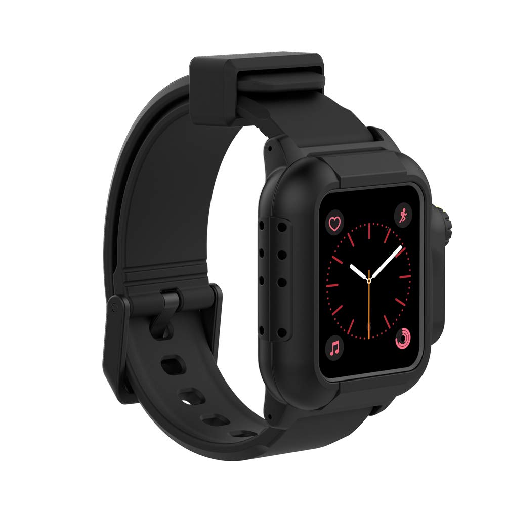 Compatible Apple Watch Waterproof Case 42mm Series 3 & 2,iWatch Heavy Duty Shockproof Impact Resistant Underwater Watch Case with Premium Soft Silicone Band (Black)