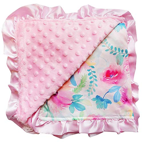 So Sydney Reversible Soft Textured Minky Dot Baby Infant Toddler Blanket with Satin Trim (Watercolor - Satin Floral Blankets