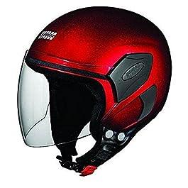 Studds FEMM Super Open Face Helmet (Cherry Red, XS)