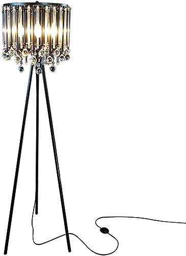 Hsyile Lighting KU300168 Unique Romance Crystal Tripod Floor Lamp Black Suitable