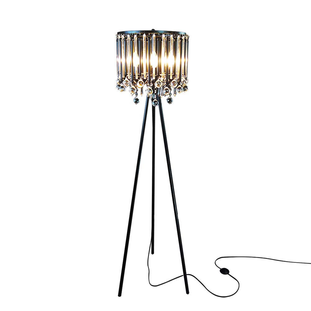 Hsyile Lighting KU300168 Unique Romance Crystal Tripod Floor Lamp Black Suitable for Bedroom,Living Room,Coffee Shop,4 Lights