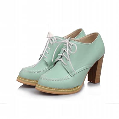 fed04aed514 Carol Shoes Women's Fashion Lace-up Sweet Stitching Retro High Chunky Heel  Dress Ankle Boots
