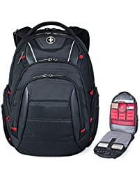 Swiss Backpack for Men, TSA Smart Scanner Friendly Laptop Business Travel Backpacks Scansmart Bag with USB Charging Port & RFID Protection Fits in 15.6 Inch Computer and Notebook, Black