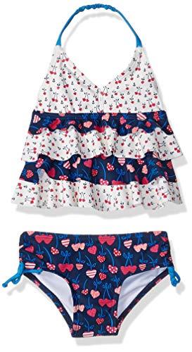 4 Piece Cherry Girl - KIKO & MAX Baby Girls Ruffle Top Two Piece Bikini Swimsuit Bathing Suit, Navy Cherry Hearts, 3/6 Months