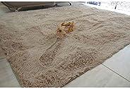 Tapetes de sala 2,00X2,40 bege liso peludo luxo felpudo 40mm.