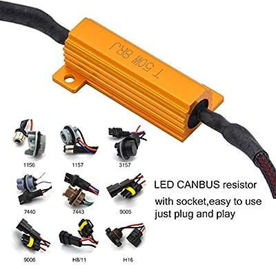 TUINCYN 2pcs 50W 8 ohm 1157 BAY15D 7528 1196 1034 1016 Led Load Resistors - Fix Headlight LED Bulb Fog Lamp Fast Hyper Flash Turn Signal Blink Light Error Code Canbus Resistors Decoder: Automotive