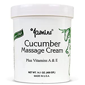 Jasmine Cucumber Massage Cream. Keep Your Face and Body Fresh and Soft with Anti-Aging Therapy Cream. Have Deeply Moisturized and Nutrition on Your Skin. Organic Cucumber Extract. [400 g/14.1 Oz]