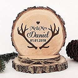 KISKISTONITE Wooden Wedding Cake Toppers Name Custom Antlers Horns Deer Style, Engraved Mr and Mrs Cake Rustic Country Decoration Favors Party Decorating Supplies