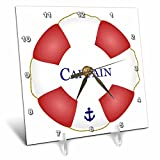 Cheap 3dRose dc_112924_1 Captain Lifesaver-Ship Life Preserver-Nautical Boat Ocean Sailing-Yacht Sailor-Sea Fisherman-Desk Clock, 6 by 6-Inch