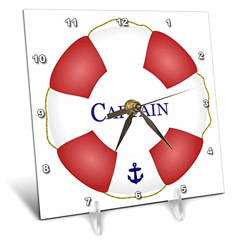 3dRose dc_112924_1 Captain Lifesaver-Ship Life Preserver-Nautical Boat Ocean Sailing-Yacht Sailor-Sea Fisherman-Desk Clock, 6 by 6-Inch