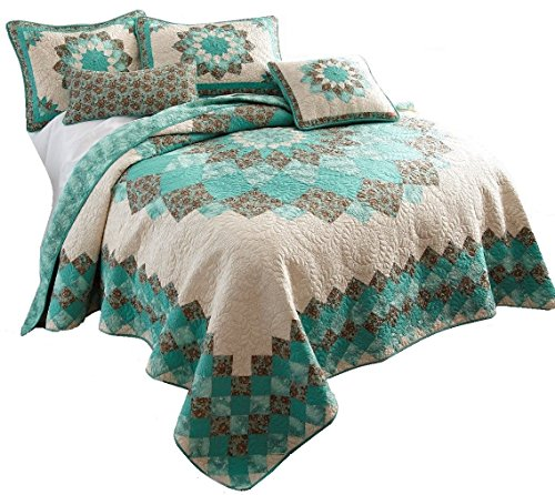 Donna Sharp Sea Breeze Dahlia Set Queen or Full Size Quilt 91 X 91 Inch and 2 Standard Shams ()