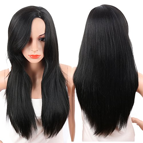 KRSI Long Straight Wigs for Women Middle Part Fluffy Lolita Cosplay Costume Black Party Non-Lace Full Wigs With Real Looking+Free Wig Cap (Straight 1) - Wig Catalogs