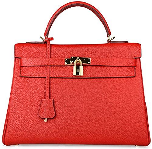 (Cherish Kiss Women's Genuine Leather Tote Bag Cross Body Shoulder Padlock Handbags (32CM, Red))