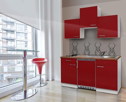 Respekta KB150WR Küchenzeile Küchenblock Single Mini Küche WEISS ROT 150 Cm  Mit Geräten