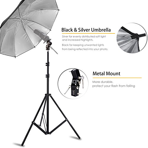 Selens Photo Umbrella Lighting Kit 33''/84cm Silver Reflective Umbrella with Light stand and Flash Bracket Mount for Portrait Photography , Studio and Video Lighting by Selens