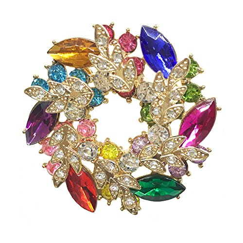 WONDER-BEAUTY Bauhinia Flower Brooch Pin - Women Fashion Jewelry Rhinestone Breastpin