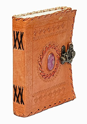 Orange Prime Quality Leather Notebook Journal | Leather Bound, Refillable | Perfect for Writing, Gifts, Fountain Pen Users,Travelers, ,Diary † Special Day Gift † 5x7 inches Stone Color May Vary by Fair Deal