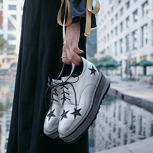 38 en L'Extérieur Cinq CXY Chaussures Gteau Étoiles Et la Rond Éponge de à L'Intérieur Printemps Hauts à l'augmentation Éponge à Argent Femelle Talons dans Cuir de de wFX5aF7xqr