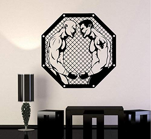 huaxiazu Wall Decal Warrior Fan Martial Arts Sports Fight Vinyl Sticker, Octagonal cage, Boxing Sanda, Martial Arts Decoration 57 X 57cm (Best Sports Fan Fights)
