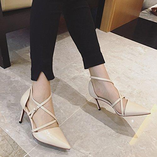 8cm 38 Moda tiras Albaricoque temperamento señaló Sexy zapatos los tacón transversales De Las Commuter de Sandalias elegante zapatos los Ajunr 37 Transpirable alto Bien con BIdaSSx