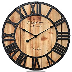 Westzytturm Wooden Big Wall Clock Wood Retro Round Face Metal Hands Battery Operated Non Ticking Silent Quartz Movement Rustic  Large Clocks for Living room Decor Office Beach Mantel(Brown, 24 inch)