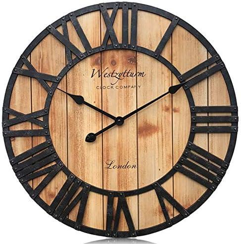 Westzytturm 24″ Rustic Wall Clock Wood Large Roman Numerals Vintage Decorative Oversized Farmhouse Wall Clocks