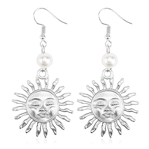 - Sterling Silver & Gold Plated 14k Emoji Smile Face Big Sun Charm With Pearl Women Dangle Earrings (White)