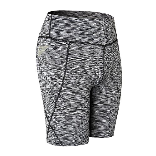 Beurlike Women's High Waist Yoga Shorts Tummy Control Running Pants Side Pockets (Grey2, Medium)