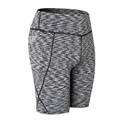 Beurlike Women's High Waist Yoga Shorts Tummy Control Running Pants Side Pockets (Grey2, Medium)