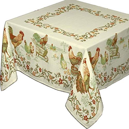 Les Tissages du Soleil French Jacquard Tablecloth, La Ferme, Naturel (The Farm, Natural Ecru White), 63 Inches x 122 Inches, Teflon Coated
